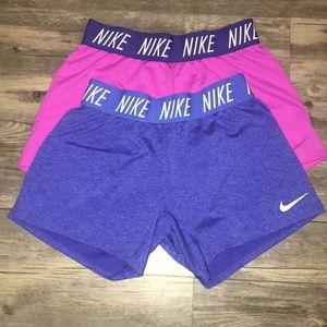 Nike Girls Dri-Fit Shorts 2 pair Lg